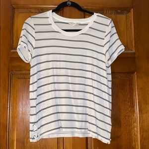 White and Black Striped Top